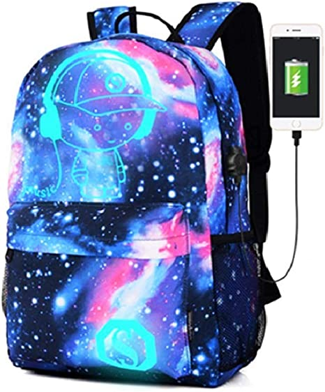 Unisex Backpack Night Luminous Students School Book Bags Galaxy Printed