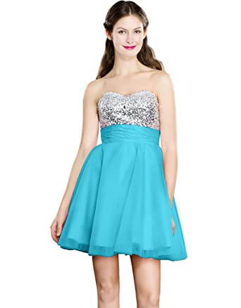 Color e Dress Womens Beaded Sweetheart Short Evening Homecoming Prom Dresses Size6 Blue