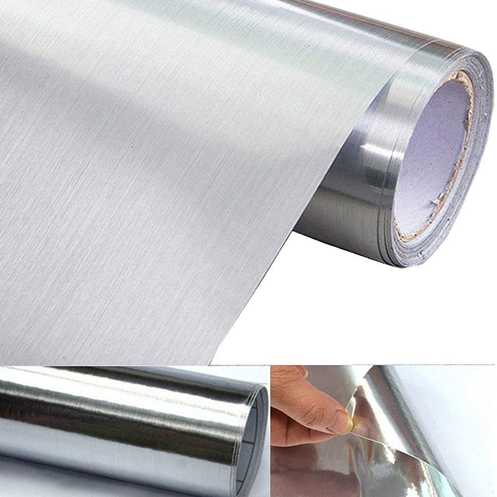 UPREDO Thick Metal Look Stainless Steel Adhesive Metallic Shelf Liner Contact Paper Vinyl Film Backsplash Cover 24in by 79in (Silver Metal)