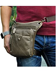 Leaokuu Mens Genuine Leather Motorcycle Waist Pack Messenger Shoulder Drop Leg Bag