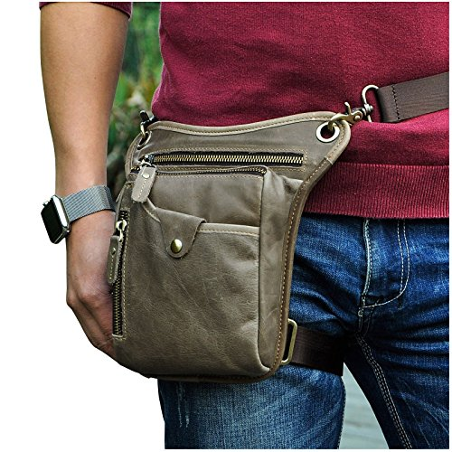 Le'aokuu Mens Genuine Leather Messenger Riding Hip Bum Waist Pack Drop Leg Cross Over Bag (The 211-5 Gray 1) 1 Hip Pack