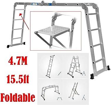 Escalera de aluminio de 4,7 m, se puede transformar en andamios/escalera en forma de A/escalera, carga máxima 330 libras, con 1 bandeja de herramientas gratis: Amazon.es: Bricolaje y herramientas