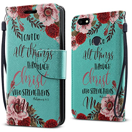 FINCIBO Blade X Z965 Case, Fashionable Flap Wallet Pouch Cover Case + Credit Card Holder with Kickstand For ZTE Blade X Z965 - Christian Bible Verses Philippians 4:13 - Bible Cover Flap