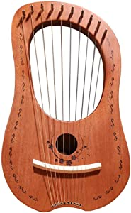 Lyre Harp 10 Metal String Harp Heptachord Chinese Harp Mahogany Portable Small Harp with Durable Steel Strings Wood String Musical Instrument
