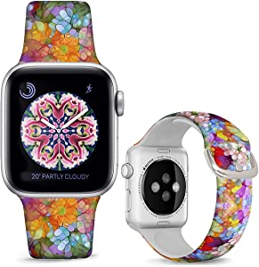 DOO UC Silicone Floral Bands Compatible with Apple Watch 38mm/40mm for Women Girls, Seabed Coral Fadeless Pattern Printed Sport Strap Replacement for iWatch SE & Series 6 & Series 5 4 3 2 1 M/L