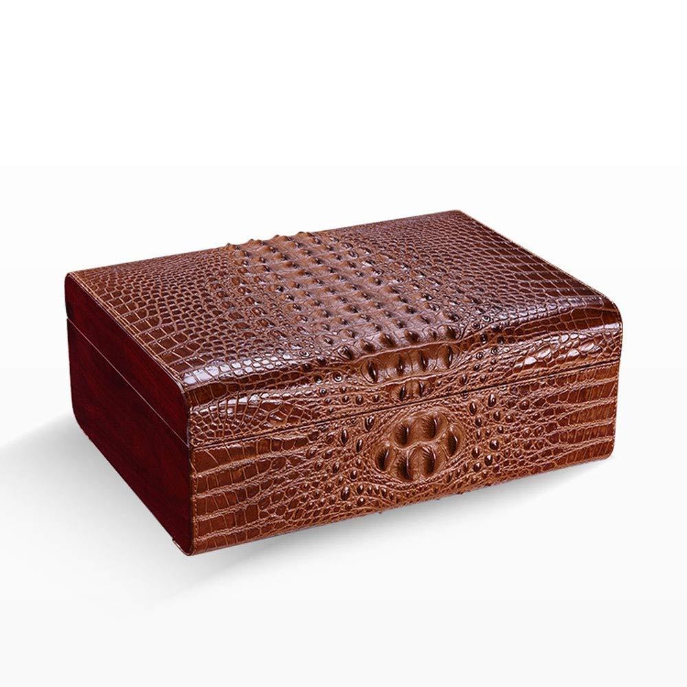 HYZXJHE Cigar Box, Cigar Humidifier, Cigarette Case, Hygrometer, Cedar Wood Travel Leather Cigar, Black (Color : Brown)