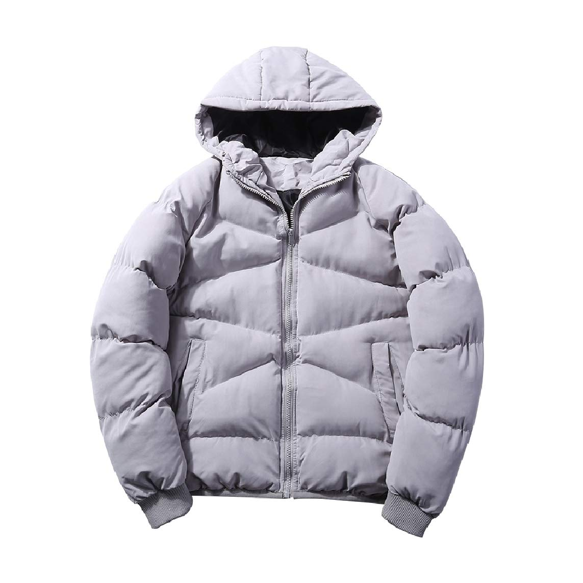 LinkShow Mens Oversize Couples Zipper Warm Casual Hooded Down Puffer