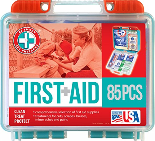 Be Smart Get Prepared 85 Piece First Aid Kit In Durable Plastic Case, Compact, 0.69 Pound (Cold Aid)