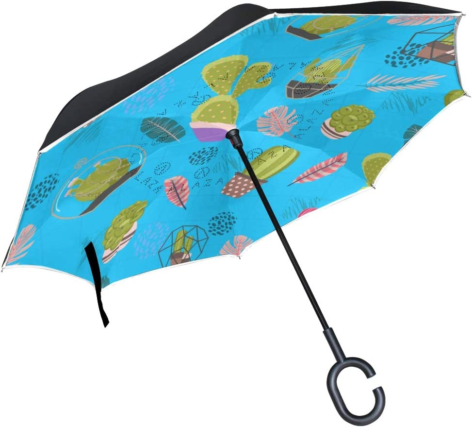 Cute Cactus Rainproof and Windproof UV Protection Double Layer Folding Inverted Umbrella with C-Shaped Handle Reverse Umbrellas For Car Rain Outdoor