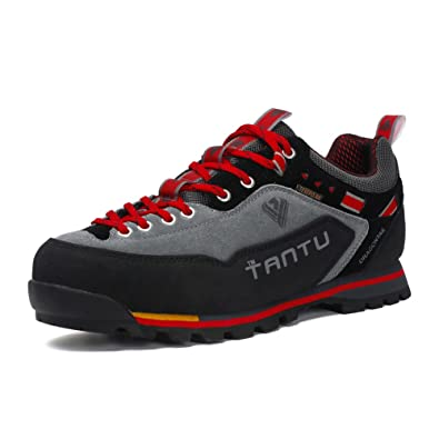 c693a0b0b9 Gomnear Hiking Boots Men s Low Top Trekking Shoes Non Slip Suede Leather  Walking Climbing Sneaker Red