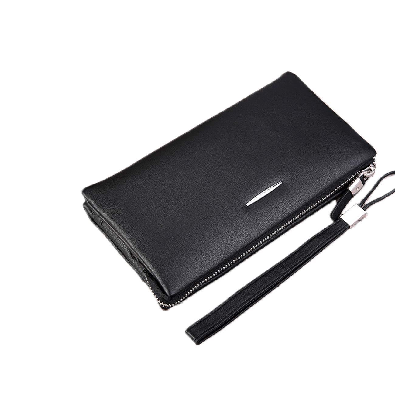 Hengtongtongxun メンズ ビンテージ 本革 長財布 二つ折り財布 レザー RFIDブロック 二つ折り財布 ジッパー付き 最高のギフト素材 ミニマリストデザイン (カラー:ブラック) B07PWW4QMP