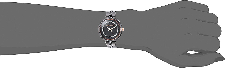 Anne Klein Women's Swarovski Crystal Accented Bangle Watch Gunmetal