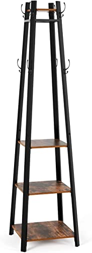 Homfa Garment Rack 71 Inches Height, Coat Rack with 8 Dual Hooks and 4-Tier Storage Shelves, Free Standing Hall Entryway Coat Stand Home Decor Furniture for Clothes, Hats, Handbags, Umbrella