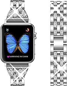 Supoix Compatible with Apple Watch Band 38mm 40mm, Women Jewelry Bling Diamond Rhinestone Replacement Metal Wristband Strap for iWatch Series 6/5/4/3/2/SE (Silver)