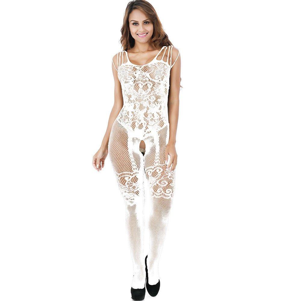 YFancy Women's Lace Dress Bodysuit Floral Lingerie Nightwear Underwear Babydoll Sleepwear Jacquard Fun Stockings White