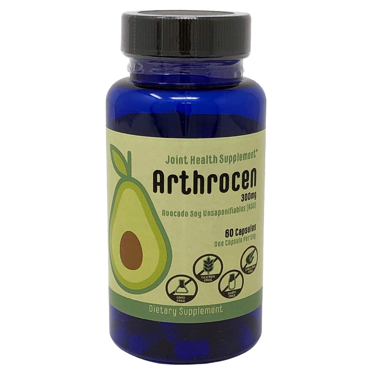 Arthrocen 300, Non-GMO, Joint Health Supplement, Avocado soy Unsaponifiable, 300Mg, Dairy, Gluten & Shellfish Free, 60 Day Supply, One Capsule Per Day