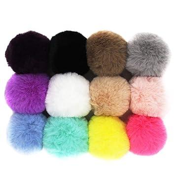 2f1072c43 DIY Pack of 12 Faux Rex Rabbit Fur Pom Pom Ball 2.3inch (Colorful Mix)