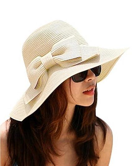 Leisial Sombrero de Paja Arco Beige Sombrero de Playa de Ala Ancha Sombrero  para el Sol Protector Solar de Verano para Mujer 41b17992481