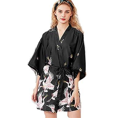 Mujer Kimono Bata Pijamas Ropa de Dormir, Seda de Raso Bata Albornoz de Dama de