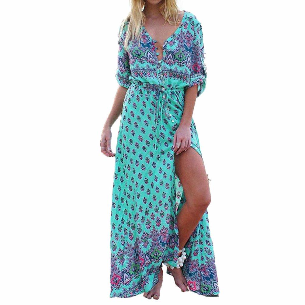 NEARTIME Hot Women's Dress, Long Maxi Floral Print Dresses V Neck Beach Party Dress (S)