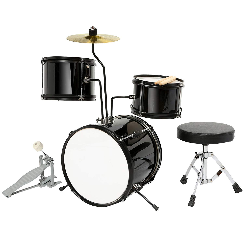 LAGRIMA 3-Piece Kids/Junior Drum Set w/Stand, Hi-Hat, Drum Stool, Drum Sticks and Pedal for Girl Boy Kids Beginner (3-8 Years Old), Black 12 Inch by LAGRIMA