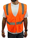 SMALL / Ansi Class 2 High Visibility Safety Vest: Solid Orange Front/ Mesh Back