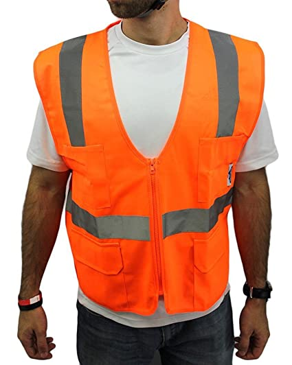 True Crest High Visibility Vest with Four Front Pockets, Meets ANSI/ISEA, Medium