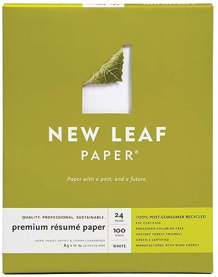 Amazon Com New Leaf Premium Resume Paper 100 Recycled 8 5 X 11