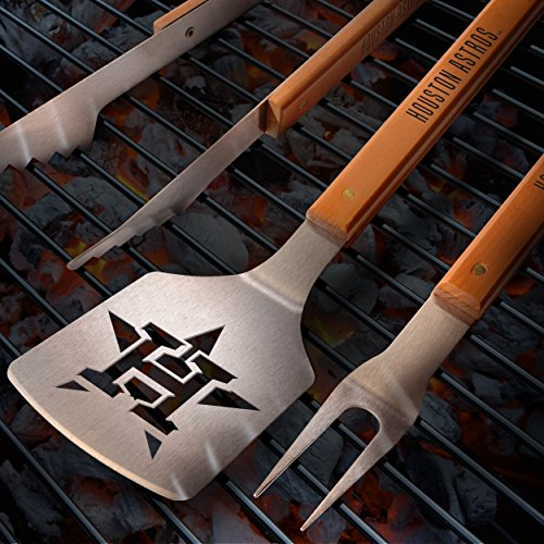 MLB Houston Astros 3PC BBQ Set, Heavy Duty Stainless Steel Grilling Tools