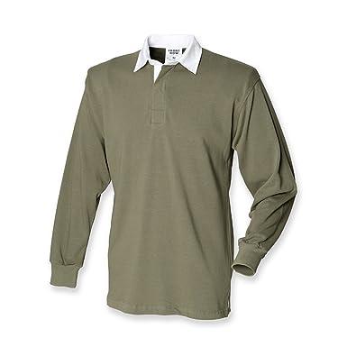 Camiseta polo, de Front Row, manga larga, de rugby Verde verde ...