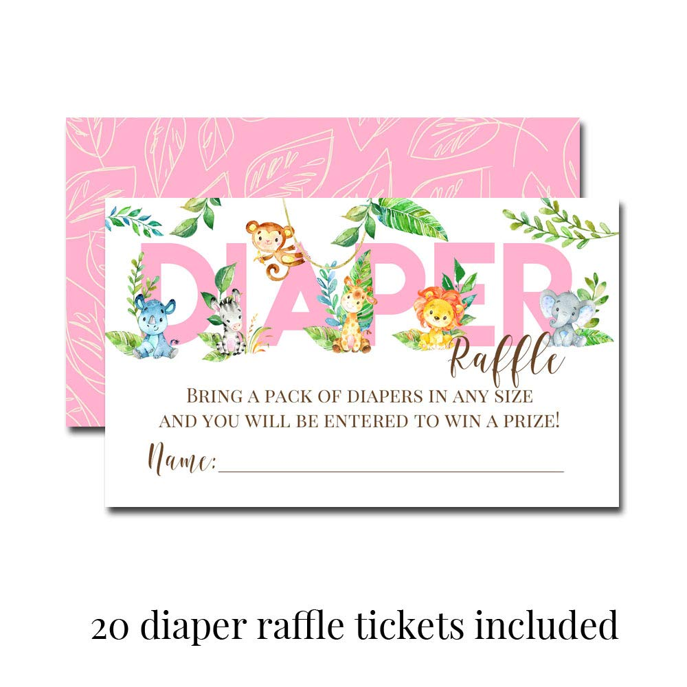"Deluxe Watercolor Jungle Animals Baby Shower Party Bundle for Girls, Includes 20 each of 5''x7'' Fill In Invitations, Diaper Raffle Tickets, Bring a Book Cards & 2"" Thank You Favor Stickers w/ Envelopes by Amanda Creation (Image #3)"