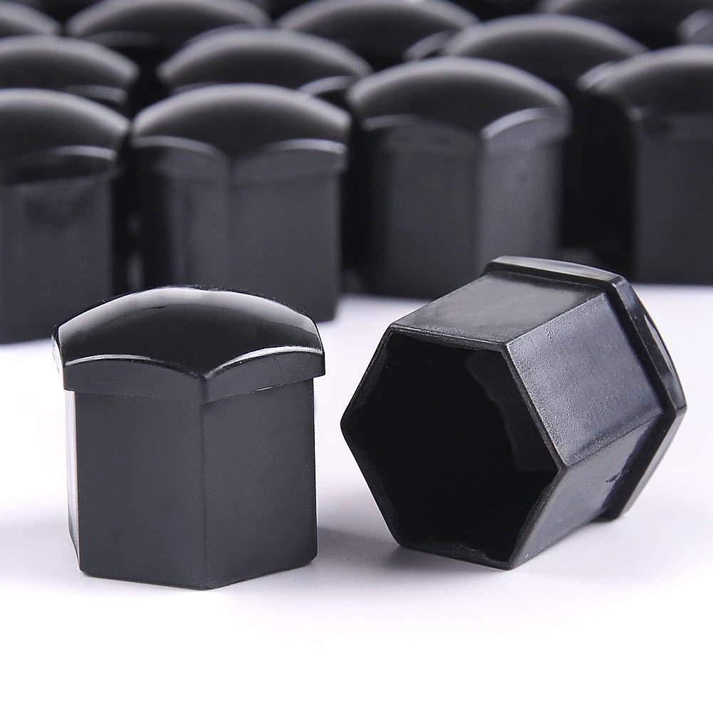 TOMYEER 20x Set 19mm Radmuttern Kappen Radschrauben schwarz