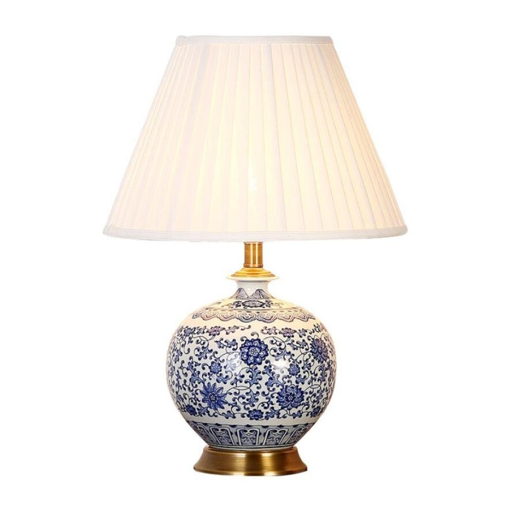 Copper Base Ceramic Table Lamp Chinese Home & Hotel Bedroom Living ...