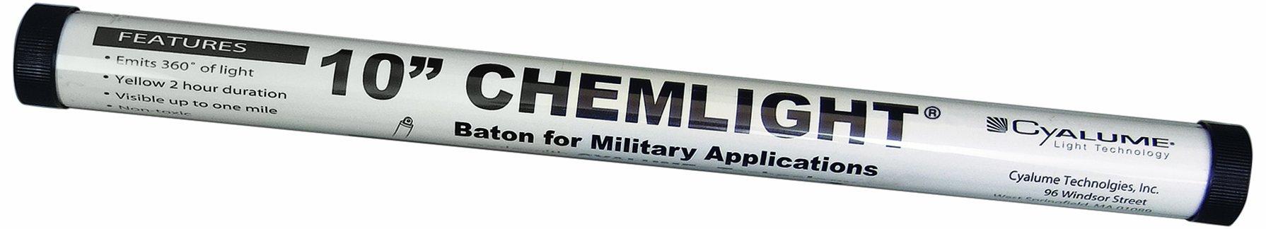 Cyalume ChemLight Military Grade Light Baton, 10'' Length, Yellow (Pack of 6)