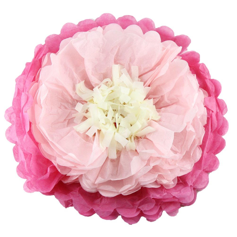 Life Glow Paper Pom Poms Tissue Paper Flowers Wedding Birthday Party Decoration Celebration Supplies 12'' 14'' Set of 10 Lotus Style in Hot Pink Light Pink and Light Yellow