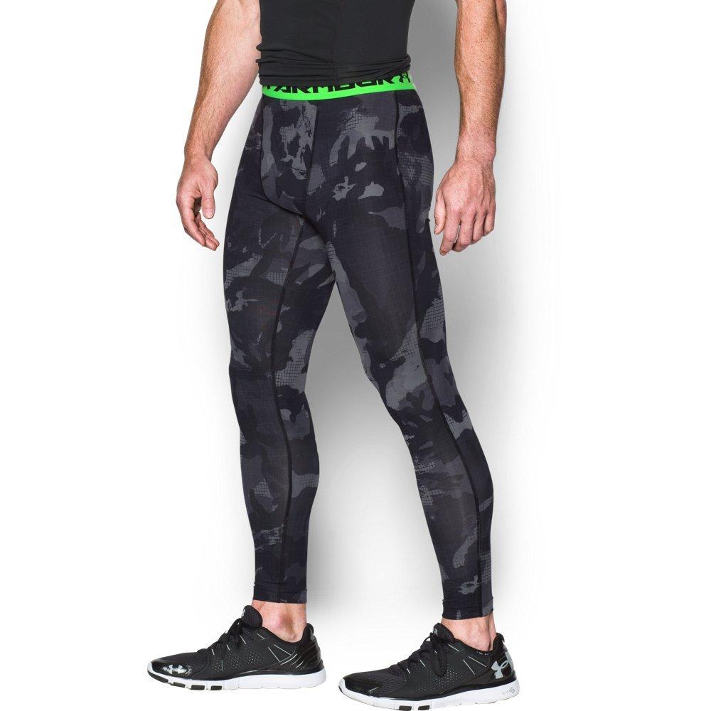 Under Armour Armour HeatGear Printed Legging - Mens Black / Steel 006 Small