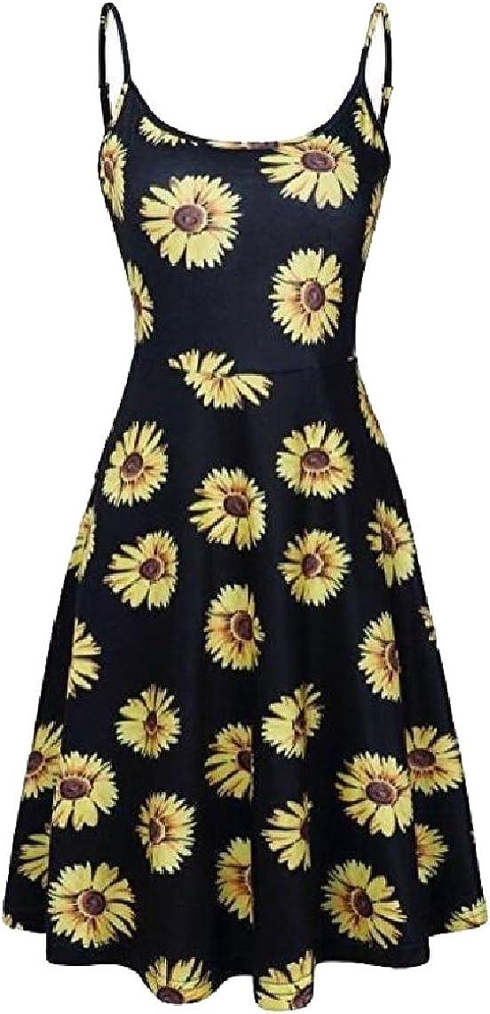 yibiyuan Women Sleeveless Adjustable Spaghetti Backless A-Line Floral Midi Dresses