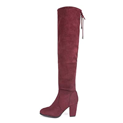 DREAM PAIRS Women's Highleg Burgundy Suede Over The Knee Thigh High Winter Heel Boots - 6 M US | Knee-High