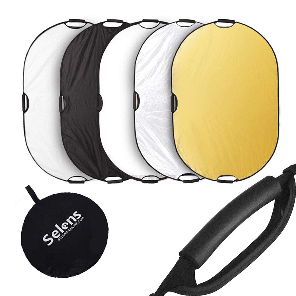 Selens Portable 5-in-1 48x72 Inch Large Oval Reflector with Handle, Collapsible for Photography Photo Studio Lighting & Outdoor Lighting by Selens