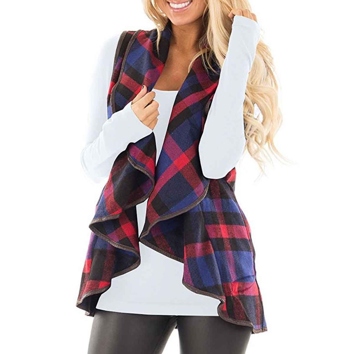 HELIDA Womens Lapel Open Front Sleeveless Plaid Vest Cardigan with Pockets S-2XL SP-051