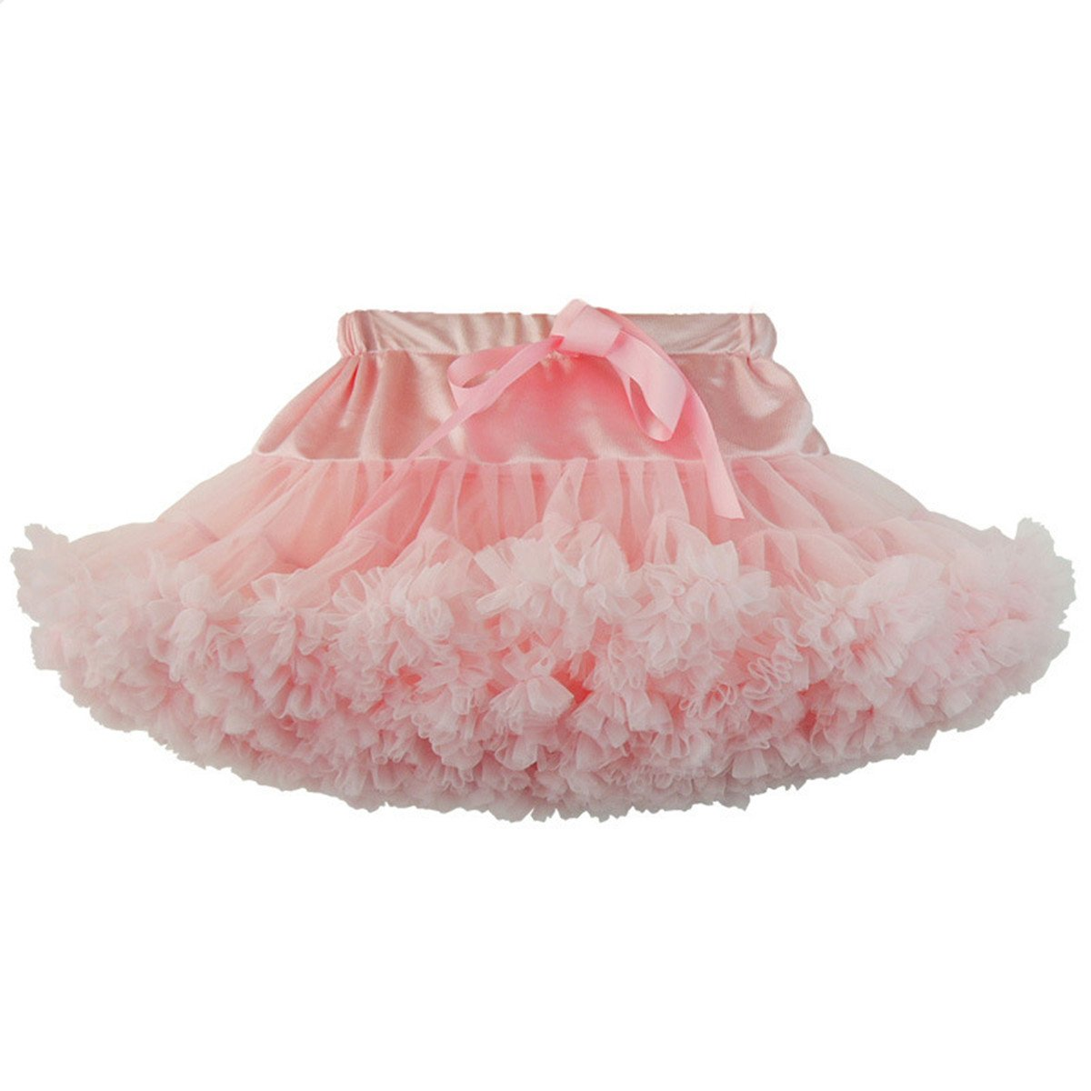WYR Girls Pleated Soft Tulle Multi Layer Tutu Skirt Tiered Pettiskirt,Princess Skirt Ballet or Clubwear Pink,Girl,M
