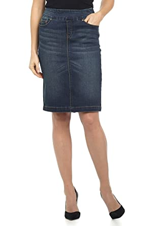 50bb104a8b Rekucci Jeans Women's Ease in to Comfort Fit Pull-on Stretch Denim Skirt (8