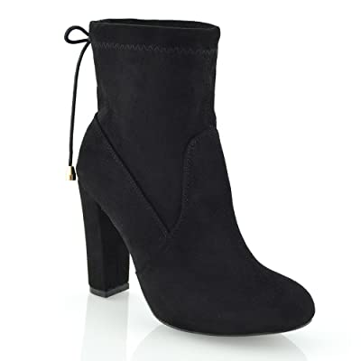 ESSEX GLAM Womens Faux Suede Block Heel Stretch Chelsea Ankle Boots   Ankle & Bootie