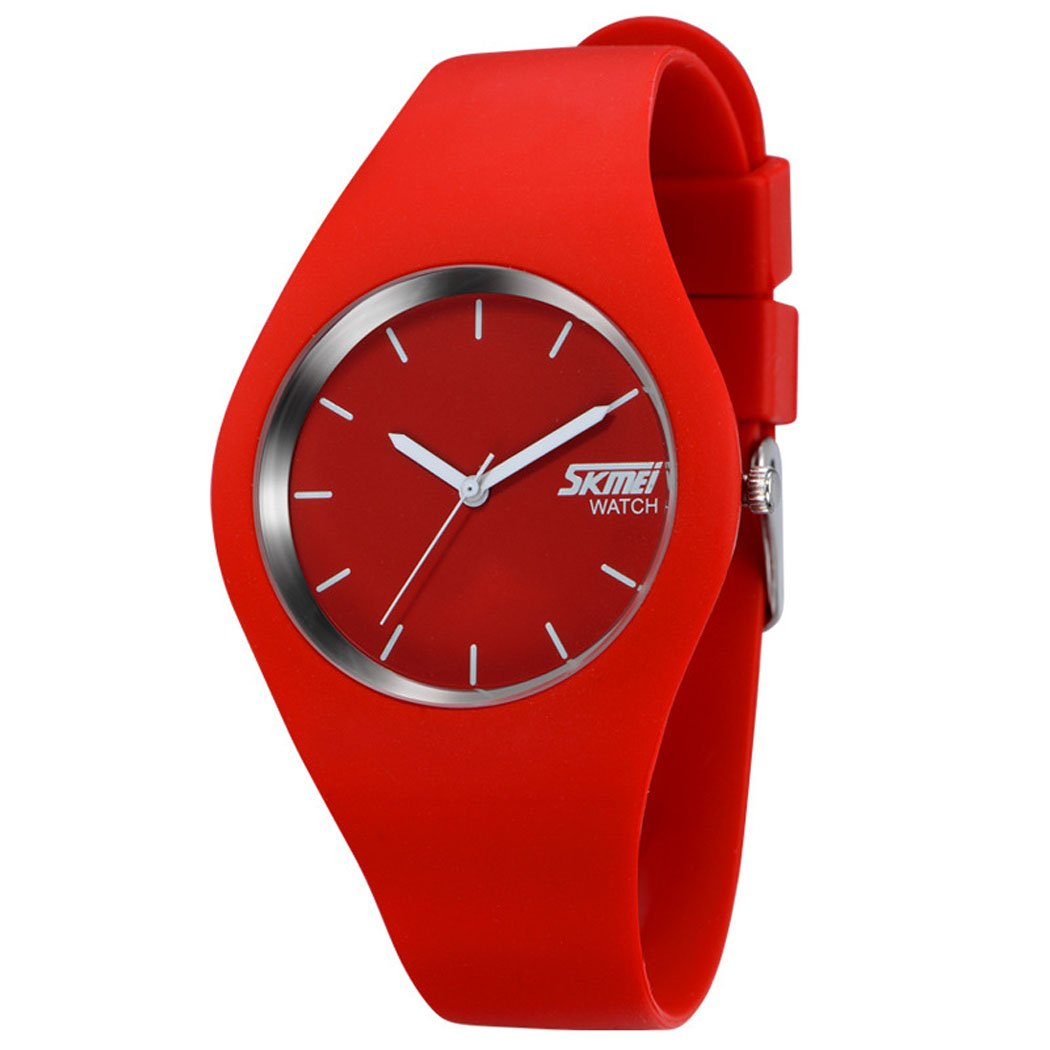 Gosasa Casual Simple Style Silicone Strap women Sports Watches 30M Waterproof (Red)