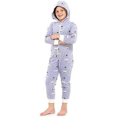 aeb675a8b174 Girls Blue Penguin All In One Pyjamas Jump Sleep Suit Onesie PJs Nightwear  Kids  Amazon.co.uk  Clothing