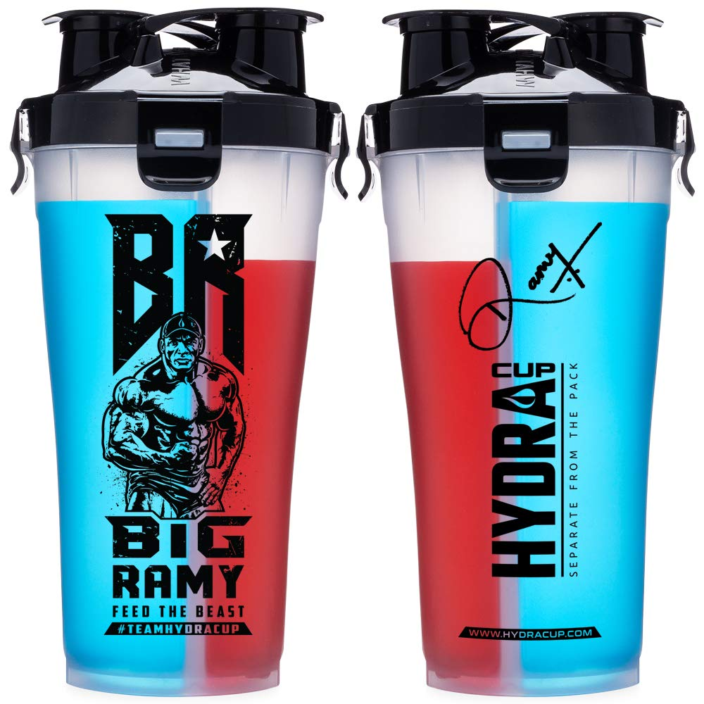 Hydra Cup - 36 oz High Performance Dual Shaker Bottle, 2 in 1, 14oz + 22oz, Leak Proof, Awesome Colors, Patented PRE + Protein Shaker Cup, Save Time & Be Prepared, Big Ramy Clear/Black