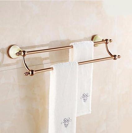 Sursy Toallero de oro, todo el cobre principal toallero baño baño colgante, Unión doble