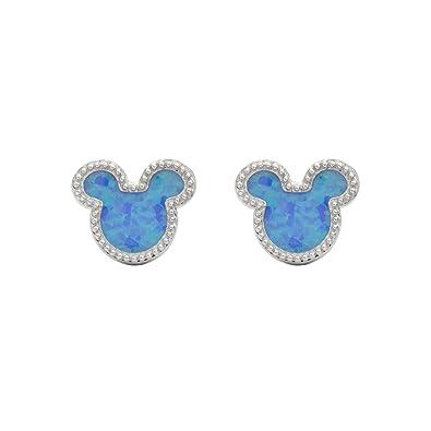 43d5c555d Disney Mickey Mouse Women Jewelry, Sterling Silver Synthetic Blue Opal Stud  Earrings Mickey's 90th Birthday