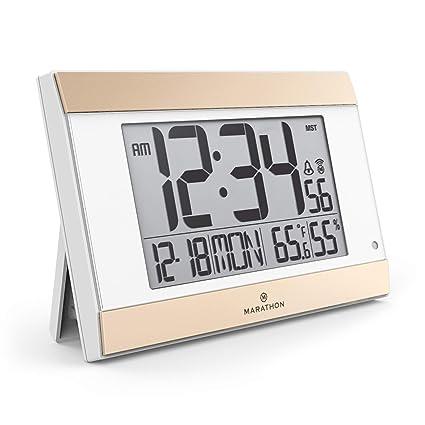 Marathon CL030052BK Reloj de repisa o Sobre Mesa Digital Table Clock Negro Rectangular - Relojes de