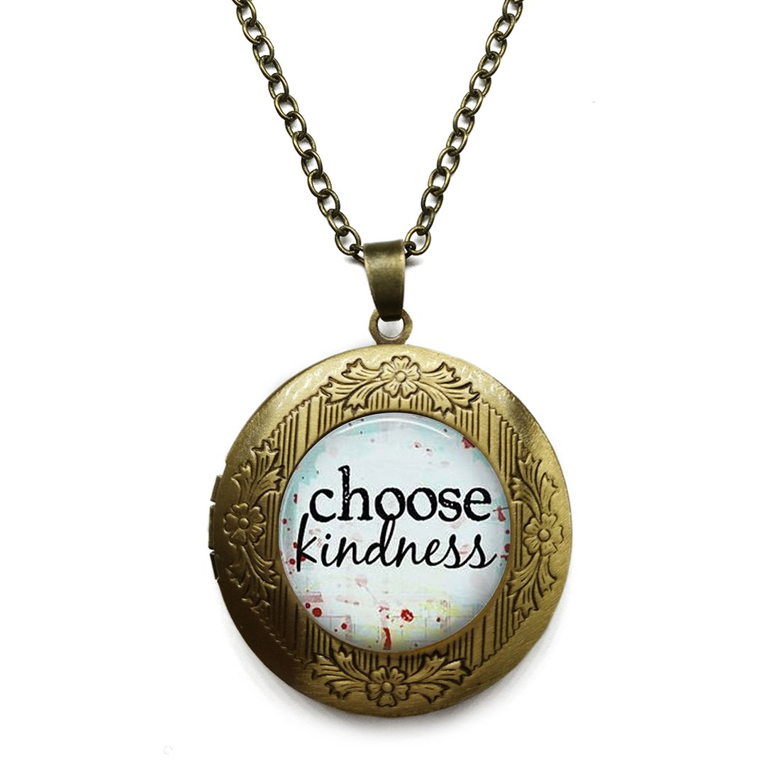 Vintage Bronze Tone Locket Picture Pendant Necklace Joshua 1.9 Bible Quote Included Free Brass Chain Gifts Personalized
